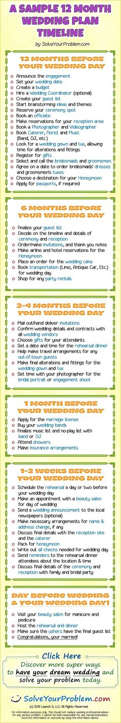 12 month wedding plan, because i want a year long engagement!!!