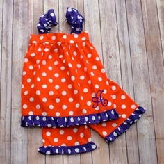 Orange & Purple Polkadot Shorts Set