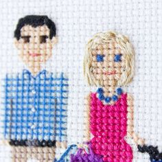 I love showing close ups to you, cause there are usually some details which aren't seen well in the whole portrait photos.   And I think I I'll post 'real couple+cross stitched characters' post too, because there are details that aren't seen here too.☺☺