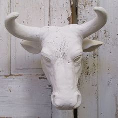 Large albino bull head wall mount faux by AnitaSperoDesign on Etsy