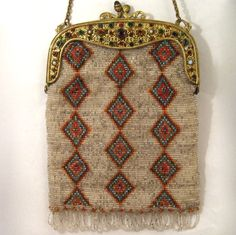 Vintage Beaded Purse with Jeweled Frame