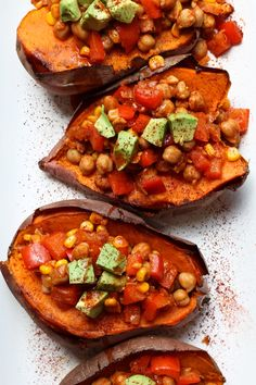 Baked Sweet Potatoes Stuffed with Chickpea Chili. Just 8 ingredients total, vegan, gluten-free, dairy-free, oil-free and super healthy and low-fat. Meatless