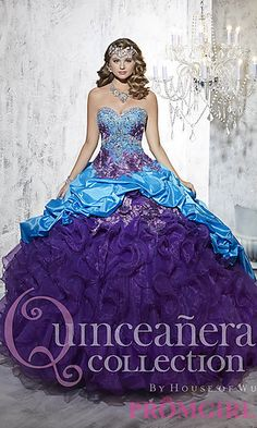 Long Strapless Sweetheart Quince Gown by House of Wu at PromGirl.