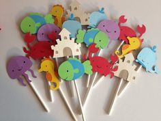 Set Of 12 Under the Sea Cupcake Toppers crabs by MiaSophias, $10.00