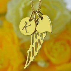 Wholesale Initial Angel Wing Mother Necklace Gold Color Love Heart  Name Necklace Custom Angel Wing Charm #Affiliate