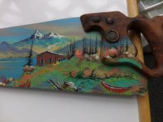 """Beautiful hand Painted """"One of a Kind"""" Scenic View on a Vintage Handsaw. Home Decor, man cave decor, business decor"""