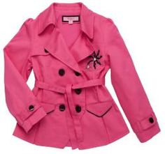 @Overstock - A cute black and white embroidered flower highlights the front of this vibrant pink peacoat-style jacket from Beetlejuice London. Made of soft, durable cotton, this jacket is finished with two piped front flap pockets and buckle cuff details.http://www.overstock.com/Clothing-Shoes/Beetlejuice-London-Girls-Pink-Cotton-Jacket/6220144/product.html?CID=214117 $60.99