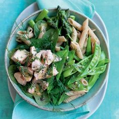 Poached salmon and pea pasta salad