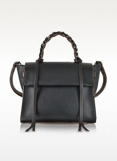 €1170.00 | Angel Sensua Black Leather Medium Handbag w/Brown Edge crafted in smooth leather with contrast detail, is a well defined bag with a statement's edge that will get you subtly noticed day or night. Featuring flap top with double magnetic snap closure, single top handle with woven design and strap tassels, adjustable top strap, internal zip pocket, adjustable shoulder strap and black metal hardware detail. Made in Italy.