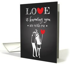 Retro chalkboard Valentine's day card with hugging couple hold heart balloons. Trendy card for your Valentine.   greetingcarduniverse.com/jjbdesigns   #greetingcard #greetingcarduniverse #greeting #card