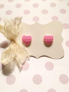Pink Stripes Heart Stud Earrings by strawberriesncreamm on Etsy