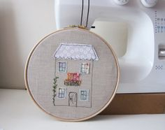 Embroidery hoop art  LIttle crooked house  by LittleBirdOfParadise, £22.00