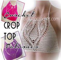 Captivating Crochet a Bodycon Dress Top Ideas. Dazzling Crochet a Bodycon Dress Top Ideas. Tops Tejidos A Crochet, Top Crop Tejido En Crochet, Crochet Halter Tops, Tunisian Crochet, Crochet Bikini, Croc Top Crochet, Crochet Lace, Free Crochet, Crochet Beach Dress