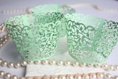 Mint Lace Filigree Cupcake Wrappers Mint Green by ReignandRose