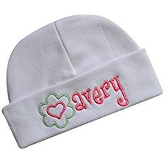 84011a2abf8 Personalized Embroidered Baby Girl Hat With GROSGRAIN BOW with CUSTOM NAME  (White Hat   White Bow)