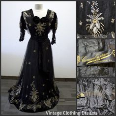 Edwardian Victorian Silk Lace Dress Gown by VintageClothingDream, $850.00