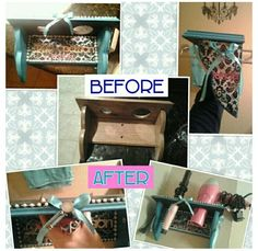 Blow dryer and curling iron holder solid oak boring so I jazzed it up a bit with some paint and pearls!