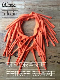 DIY fringe sjaal from old t-shirt — could use as an open-ended costume piece for dress-up area in playroom