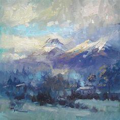 "Daily Paintworks - ""Glenorchy Evening"" - Original Fine Art for Sale - © Richard Robinson"