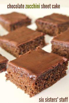 Chocolate Zucchini Sheet Cake on http://SixSistersStuff.com