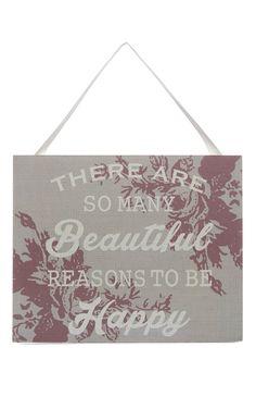 Primark - Floral Beautiful Slogan Plaque
