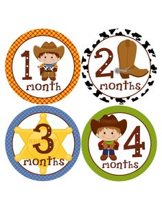 Western Monthly Baby Stickers...Favorite Baby Shower Gift for New Mom and Baby Boy...Cowboy Baby on Etsy, $9.00