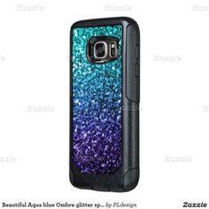 Beautiful Aqua blue Ombre glitter sparkles OtterBox Samsung Galaxy S7 Case by #PLdesign #BlueSparkles #SparklesCase