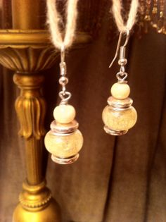 Sterling Silver Dangle Earrings with Creamy Pearlescent Glass Beads!