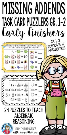 These Missing Addends Puzzles for Algebraic Reasoning for your first, second or homeschool students are perfect for early finishers & as enrichment for students who have mastered basic addition & subtraction facts. Task cards contain math equations using pictures & numbers for students to determine value. Help your students become effective problem solvers. Foster high level mathematical thinking skills. Can also be used in math workshop model as mini lessons or center work. (1sr, 2nd grade}