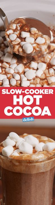 This Slow-Cooker Hot Cocoa will keep your whole squad warm. Get the recipe from Delish.com.