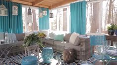 HGTV Spring House& Screened-In Porch — Check out these quick and easy ways to make your outdoor space more comfortable and inviting. Brought to you by HGTV and Outdoor Rooms, Outdoor Furniture Sets, Outdoor Decor, Outdoor Curtains For Patio, Home Interior, Interior Design, Screened In Patio, Screened Porch Furniture, Porch Chairs