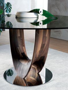 Mesa redonda en madera y vidrio AXIS Glass Dining Table, Modern Dining Table, Round Dining Table, Table Furniture, Modern Furniture, Furniture Design, Wooden Kitchen Signs, Coffe Table, Futuristic Furniture