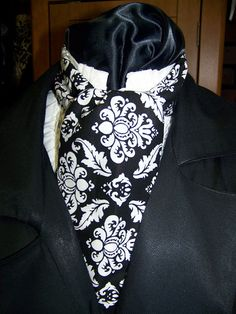 Ascot or Carvat White and Black Damask Teal cotton by civilwarlady, $14.95