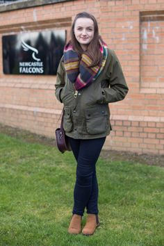 'We spotted Georgia in her Barbour Wax Jacket - paired with an oversized scarf!'