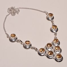 LOVELY FACETED CITRINE .925 SILVER HANDMADE NECKLACE JEWELRY JA564 #Handmade