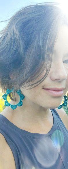 Micromacrame earrings large teal hoop flower