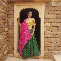 Green And yellow Combination Printed Navratri Special Chaniya Choli Lengha Choli, Lehenga Choli Online, Lehenga Blouse, Choli Designs, Saree Blouse Designs, Chaniya Choli Designer, Navratri Dress, Yellow Lehenga, Mehndi Outfit
