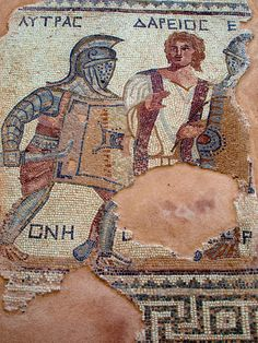 Cyprus - Mosaic depicting a gladiators fight. The House of the Gladiators. Late century gladiator mosaic from a private residence in Kourion. All the participants are named, including the referee Ancient Rome, Ancient Greece, Ancient History, Ancient Aliens, Roman History, Art History, European History, American History, Roman Gladiators