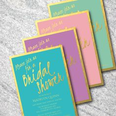 Gold Foil Shower Invitation  Turquoise Purple by CelebrationsByM, $12.00