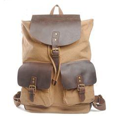 Backpack genuine cow leather men's leather   bag canvas bag/ leather canvas briefcase /   messenger bag / laptop bag (6819)