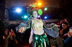 Earth Celebrations--Direct Fashion Show at the Museum of Reclaimed Urban Space. LES, NYC. Wetlands costume. Photo by Brian D. Caron.