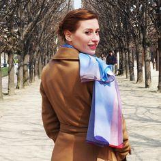 Luxury Silk Art Scarves By Phillip Ayers Paris Shoot Fashion Accessory How to tie a scarf Silk Chiffon Silk Twill Silk Modal Taillights at Night Silk Art, Silk Scarves, Silk Chiffon, Shawl, Fashion Accessories, Kimono, Tie, Paris, Luxury
