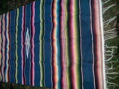 Vintage Mexican saltillo serape blanket1950's by Rainydayantiques, $99.00