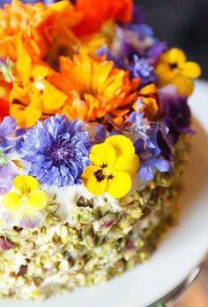 Pistachio Orange Blossom Cake with Edible Flowers