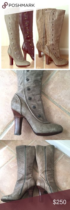 "RARE Frye Matilda Boots This is a very rare and beautiful Frye boot called the 'Matilda' boot in 'slate' which is like a green/gray. It has decorative buttons down the front fold of a Victorian-inspired tall boot ✔️Side zip ✔️Stacked heel ✔️Heel height: 4"" ✔️Boot shaft height: 14 3/4""; 14 1/2"" calf circ. ✔️Leather with rubber inset Great used condition. There are a few light scratches on the leather on the outside, some discoloration on the inside of the boot, and some scuff marks on the…"
