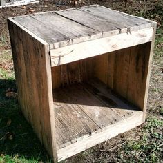 Pallet nightstand, add a shelf inside; or use wooden crates stacked!