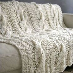 Image result for chunky knit blanket on couch