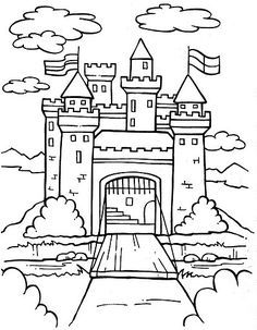 Coloring Pages To Print, Free Printable Coloring Pages, Coloring Book Pages, Coloring Sheets, Coloring Pages For Kids, Art Drawings For Kids, Drawing For Kids, Castle Coloring Page, Castle Crafts