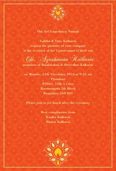 Upanayanam Invitation Card Sample New Thread Ceremony Invitations Blessed Blossom Saffron Invitation Card Sample, Printable Invitation Templates, Wedding Invitation Envelopes, Online Invitations, Invitation Card Design, Invites, Bowling Party Invitations, Christmas Party Invitation Template, Wedding Flower Packages