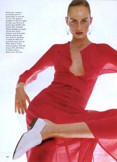 Vogue US March 1997 'A Fine Romance' - Amber Valletta by Steven Meisel / Dress by Jil Sander